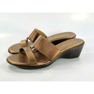 Italian Shoemakers Wedge Sandal Leather Slides